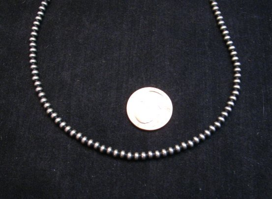 Image 2 of Native American 4mm Bead Navajo Pearls Sterling Silver Necklace 20-inch long