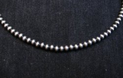 Native American 4mm Bead Navajo Pearls Sterling Silver Necklace 20-inch long