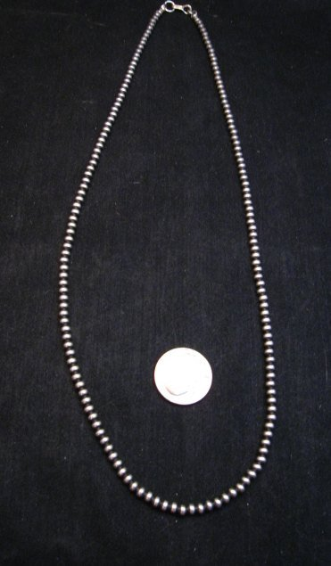 Image 1 of Native American 4mm Bead Navajo Pearls Sterling Silver Necklace 24-inch long