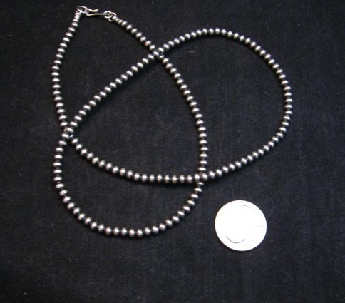 Image 0 of Native American 4mm Bead Navajo Pearls Sterling Silver Necklace 24-inch long