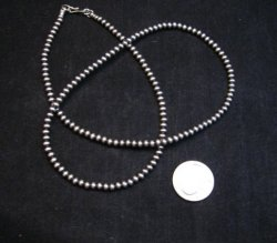 Native American 4mm Bead Navajo Pearls Sterling Silver Necklace 24-inch long