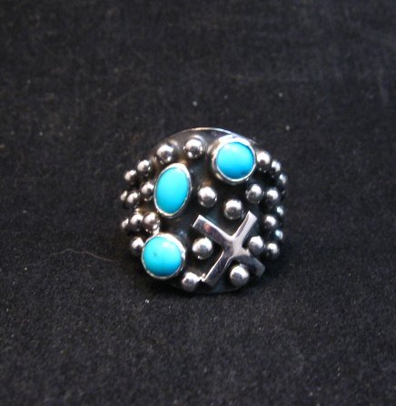Image 0 of Navajo Ronnie Willie Turquoise Silver Cross Ring sz7-1/2
