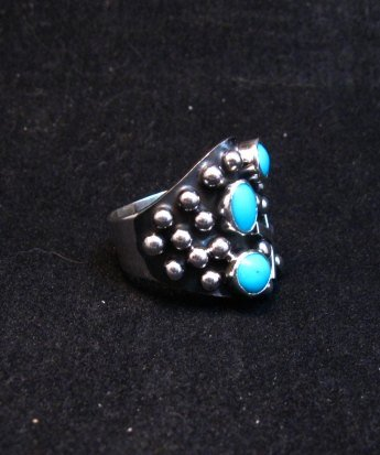 Image 1 of Navajo Ronnie Willie Turquoise Silver Cross Ring sz7-1/2