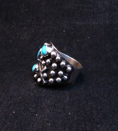 Image 2 of Navajo Ronnie Willie Turquoise Silver Cross Ring sz7-1/2