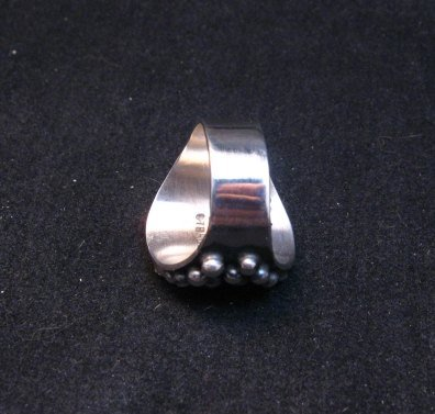 Image 3 of Navajo Ronnie Willie Turquoise Silver Cross Ring sz7-1/2