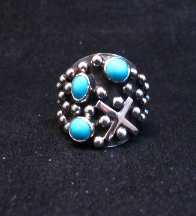 Image 0 of Navajo Ronnie Willie Turquoise Silver Cross Ring sz6-1/2
