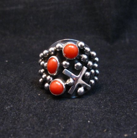 Image 0 of Navajo Ronnie Willie Coral Four Corners Cross Ring sz7-3/4