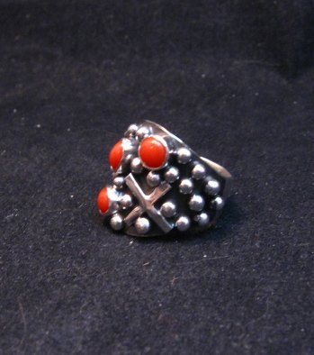 Image 1 of Navajo Ronnie Willie Coral Four Corners Cross Ring sz6-1/2