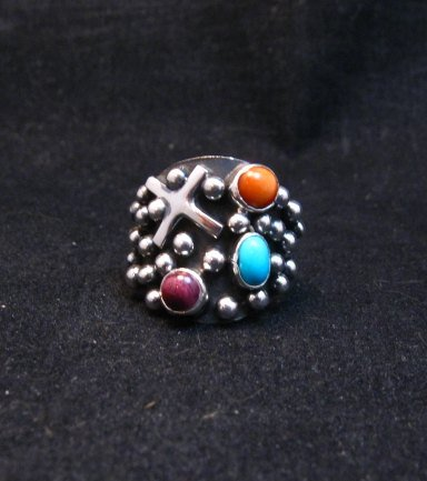 Image 0 of Navajo Ronnie Willie Multigem Four Corners Cross Ring sz6-1/2