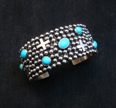 Image 0 of Navajo ~ Ronnie Willie ~ Turquoise Cross Four Corners Bracelet
