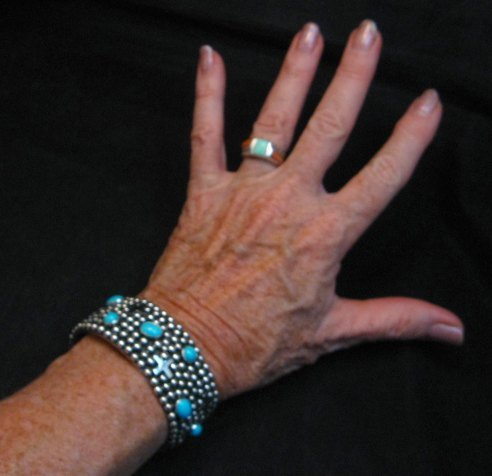 Image 4 of Navajo ~ Ronnie Willie ~ Turquoise Cross Four Corners Bracelet