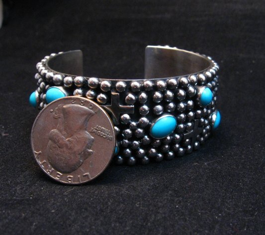 Image 5 of Navajo ~ Ronnie Willie ~ Turquoise Cross Four Corners Bracelet