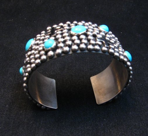 Image 6 of Navajo ~ Ronnie Willie ~ Turquoise Cross Four Corners Bracelet