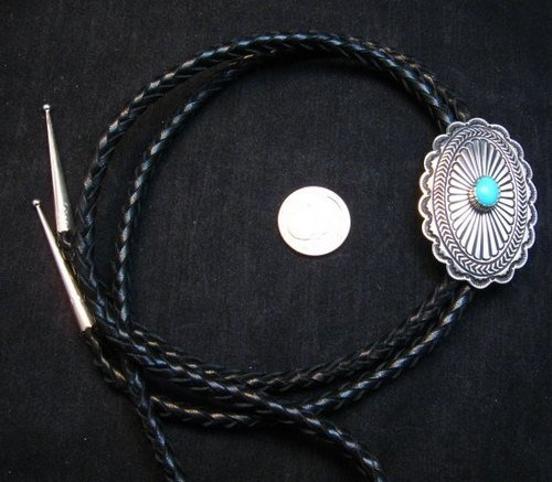 Image 1 of Tsosie Orville White (Navajo) Turquoise Sterling Silver Bolo