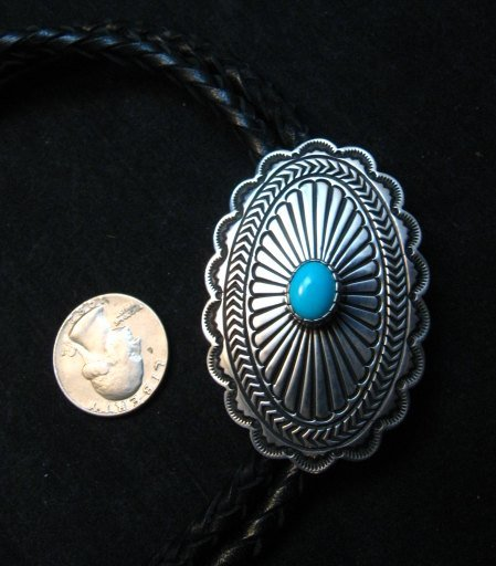 Image 2 of Tsosie Orville White (Navajo) Turquoise Sterling Silver Bolo