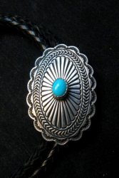 Tsosie Orville White (Navajo) Turquoise Sterling Silver Bolo
