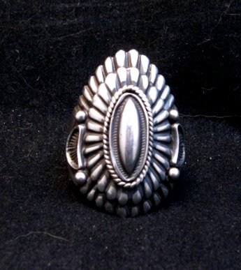 Image 0 of Navajo Harry H Begay Hammered Ingot Sterling Silver Ring sz12