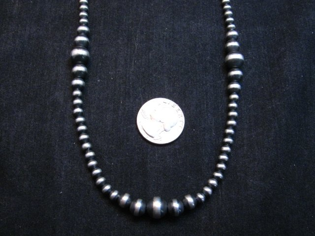 Image 1 of Native American Mixed Bead Navajo Sterling Silver Necklace 24-inch long