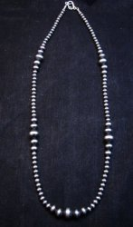 Native American Mixed Bead Navajo Sterling Silver Necklace 24-inch long