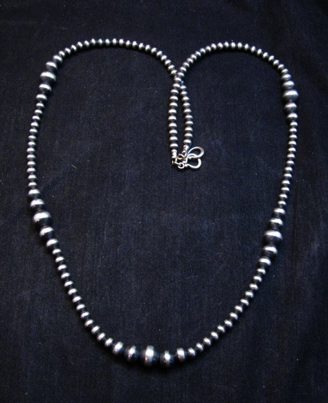Image 0 of Native American Mixed Bead Navajo Sterling Silver Necklace 30-inch long