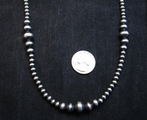 Image 2 of Native American Mixed Bead Navajo Sterling Silver Necklace 30-inch long