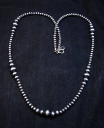 Native American Mixed Bead Navajo Pearls Sterling Silver Necklace 30-inch long