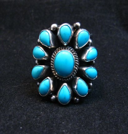 Image 0 of Darryl Becenti Navajo Turquoise Cluster Silver Ring sz8-1/2