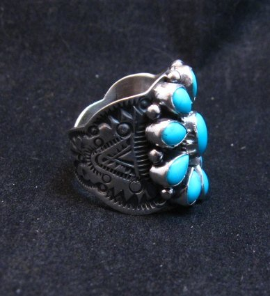 Image 1 of Darryl Becenti Navajo Turquoise Cluster Silver Ring sz8-1/2
