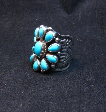 Image 2 of Darryl Becenti Navajo Turquoise Cluster Silver Ring sz8-1/2