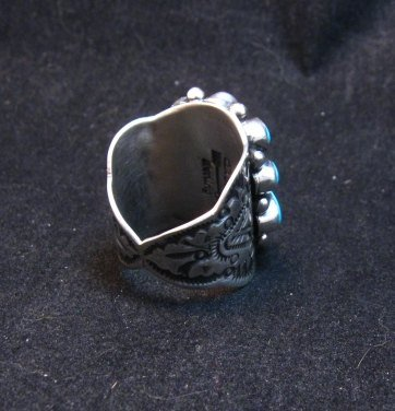 Image 3 of Darryl Becenti Navajo Turquoise Cluster Silver Ring sz8-1/2