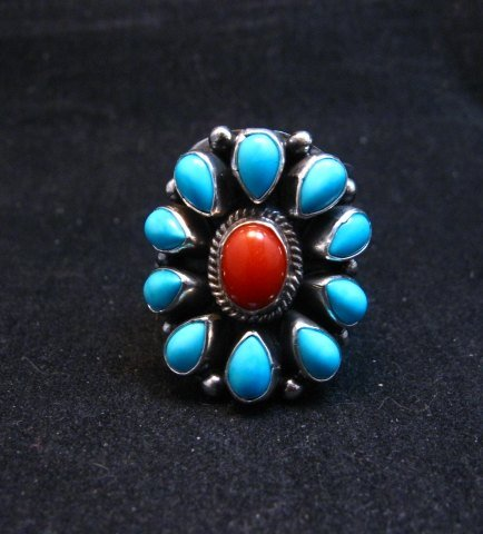 Image 0 of Navajo Turquoise Coral Cluster Ring sz7, Native American Darryl Becenti