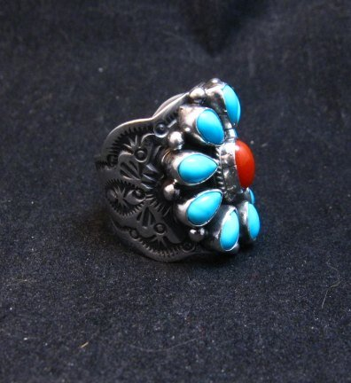 Image 1 of Navajo Turquoise Coral Cluster Ring sz7, Native American Darryl Becenti