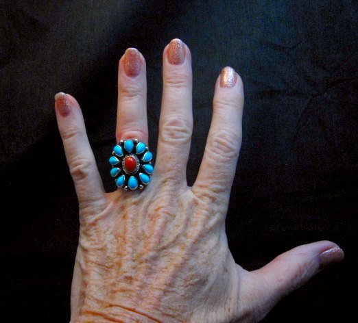 Image 2 of Navajo Turquoise Coral Cluster Ring sz7, Native American Darryl Becenti