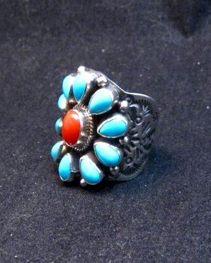 Image 4 of Navajo Turquoise Coral Cluster Ring sz7, Native American Darryl Becenti