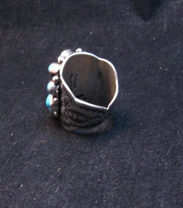Image 5 of Navajo Turquoise Coral Cluster Ring sz7, Native American Darryl Becenti