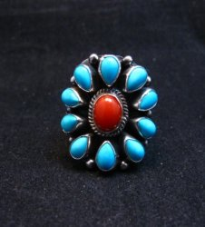 Navajo Turquoise Coral Cluster Ring sz7, Native American Darryl Becenti
