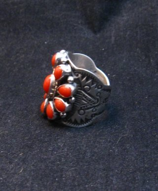Image 1 of Darryl Becenti Navajo Coral Cluster Silver Ring sz8-1/2