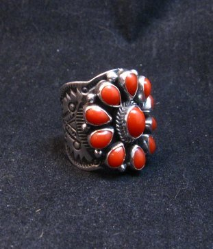 Image 2 of Darryl Becenti Navajo Coral Cluster Silver Ring sz8-1/2