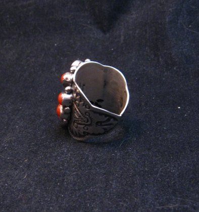 Image 3 of Darryl Becenti Navajo Coral Cluster Silver Ring sz8-1/2