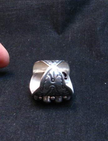 Image 4 of Darryl Becenti Navajo Coral Cluster Silver Ring sz8-1/2