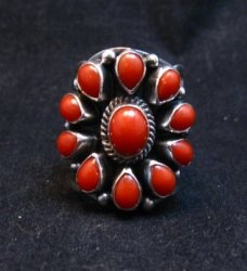 Darryl Becenti Navajo Coral Cluster Silver Ring sz8-1/2