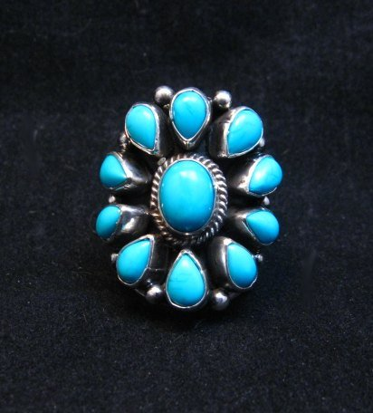 Image 0 of Darryl Becenti Navajo Turquoise Cluster Silver Ring sz5-1/2