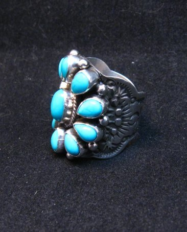 Image 2 of Darryl Becenti Navajo Turquoise Cluster Silver Ring sz5-1/2