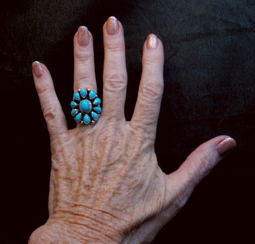 Image 4 of Darryl Becenti Navajo Turquoise Cluster Silver Ring sz5-1/2
