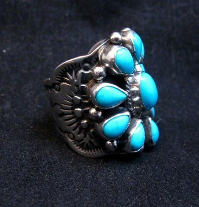 Image 1 of Darryl Becenti Navajo Turquoise Cluster Silver Ring sz5-1/2
