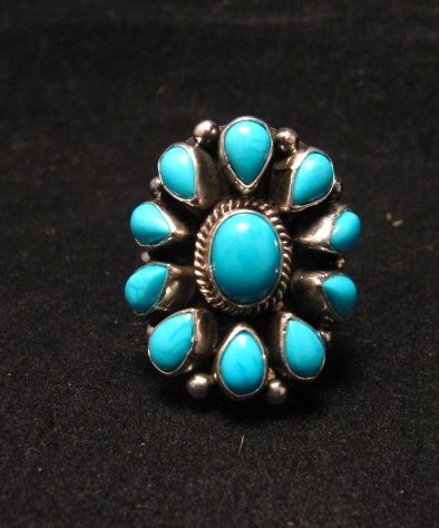 Image 5 of Darryl Becenti Navajo Turquoise Cluster Silver Ring sz5-1/2