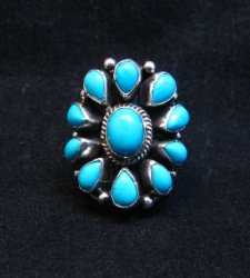 Darryl Becenti Navajo Turquoise Cluster Silver Ring sz5-1/2