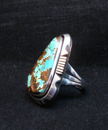 Image 2 of Navajo Native American Turquoise Ring sz9, Lonnie Willie