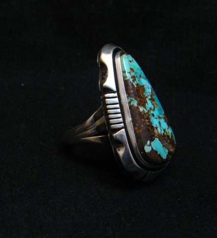 Image 3 of Navajo Native American Turquoise Ring sz9, Lonnie Willie