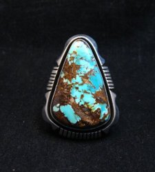 Navajo Native American Turquoise Ring sz9, Lonnie Willie
